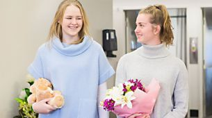 Bringing flowers and gifts to hospital