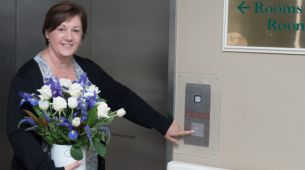 Bringing flowers to visit hospital patient