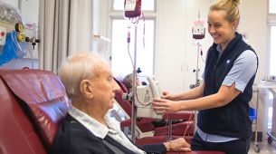 Cancer patient undergoing haematology blood treatment