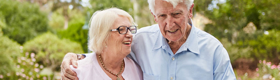 Couple relaxed in retirement village