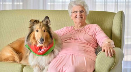 Calvary Mt Carmel Retirement Community  Resident with dog
