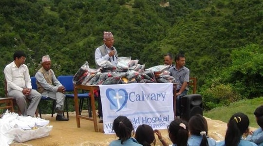 Calvary Wakefield donating to Nepal
