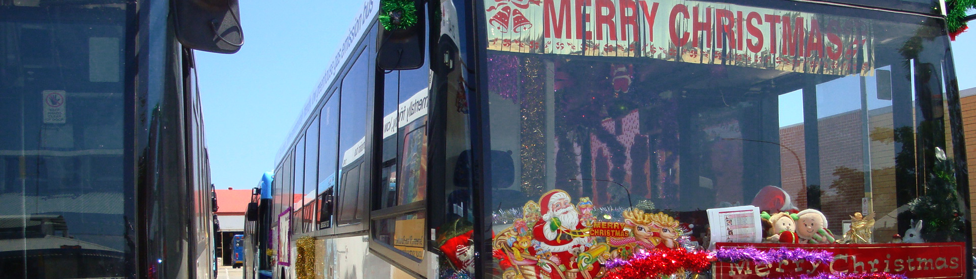 The Christmas Bus with decorrations raising money for Calvary charity
